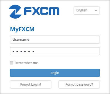 MyFXCM Login Screen