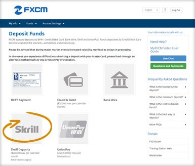 FXCM - MyFXCM Skrill Option