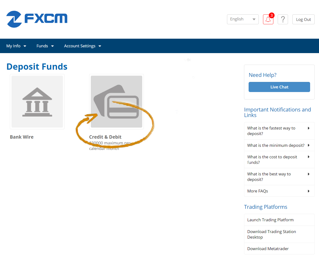 FXCM - MyFXCM Credit or Debit Option